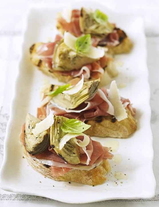 Parma Ham Bruschetta with Artichoke and Parmesan Recipe