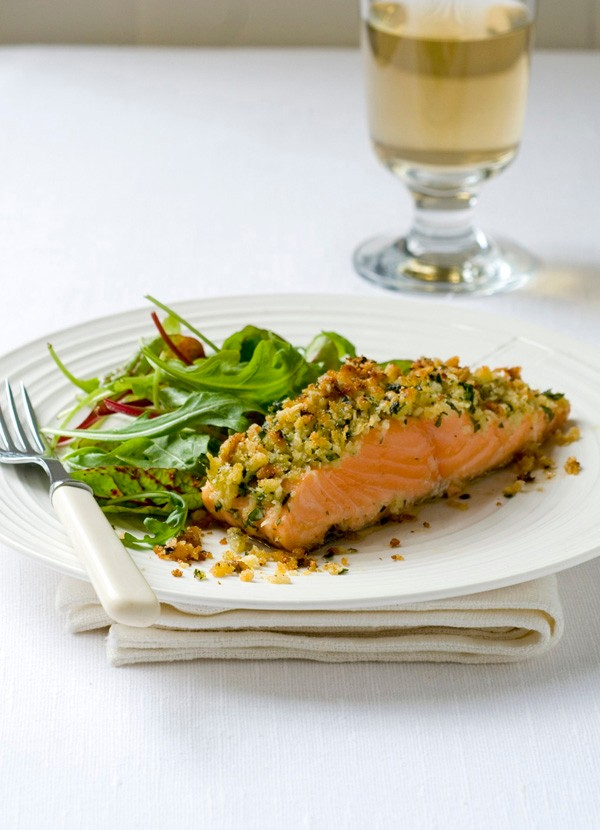 Parmesan and parsley-crusted salmon