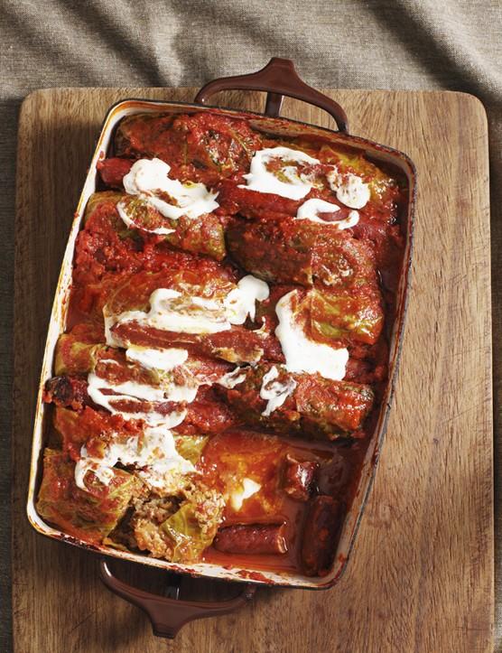 Polish stuffed cabbage rolls golabki in tomato sauce