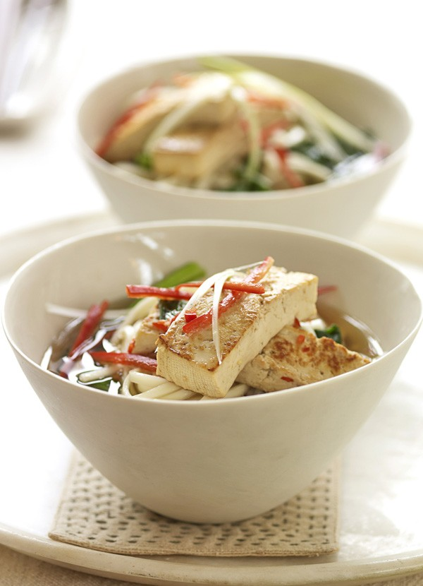 Marinated tofu with udon noodles and greens