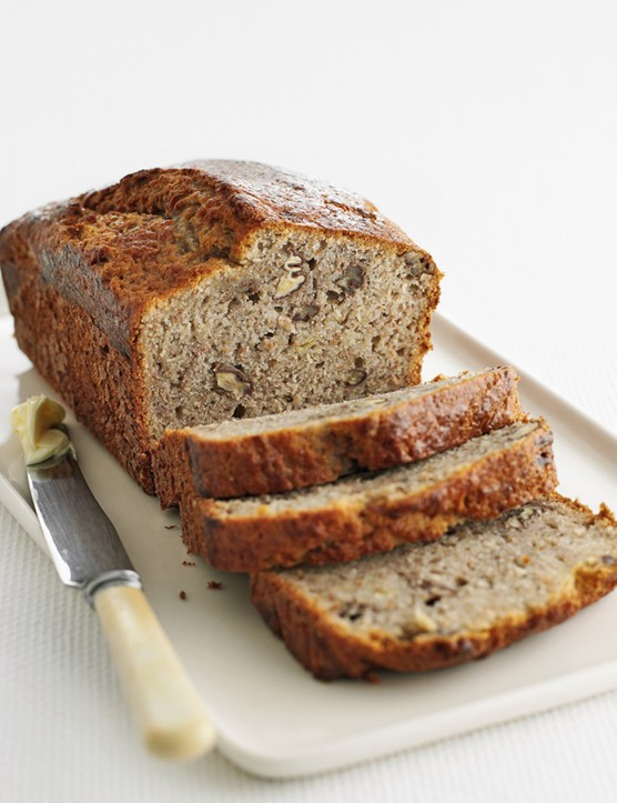 Easy banana bread with peanut butter frosting