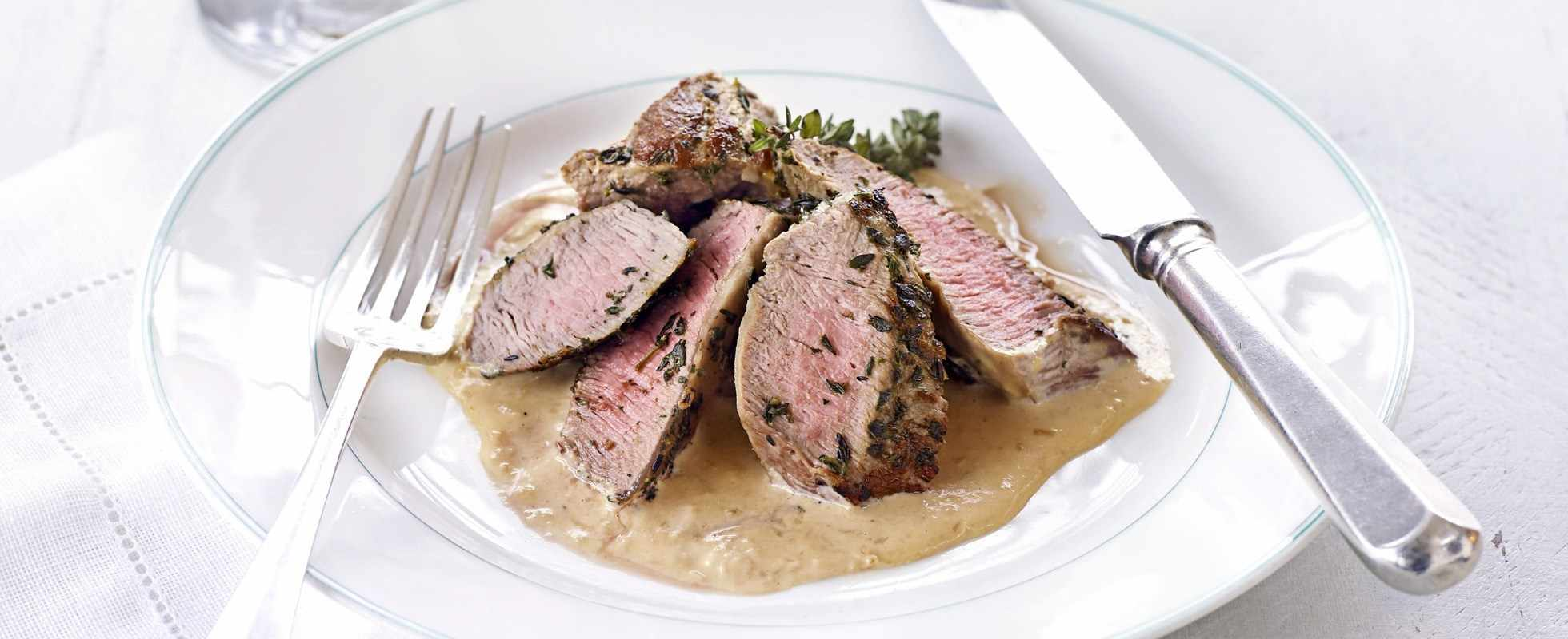 roasted lamb neck fillet with garlic sauce