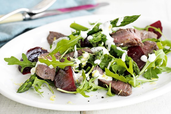 Steak, beetroot and asparagus salad