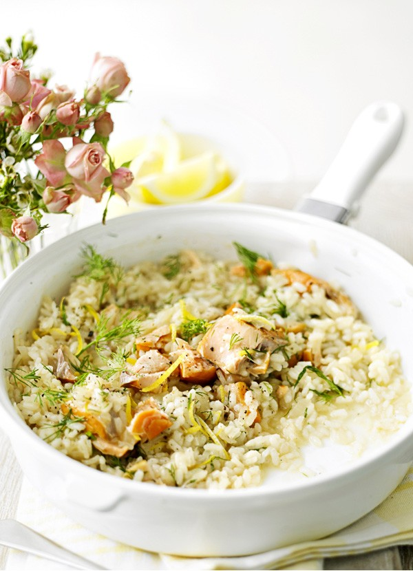Hot-Smoked Salmon Risotto Recipe with Dill
