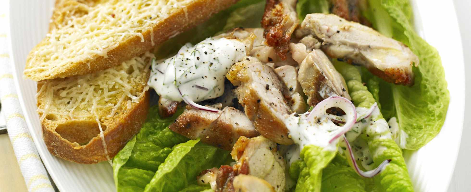 Griddled chicken salad with basil mayo