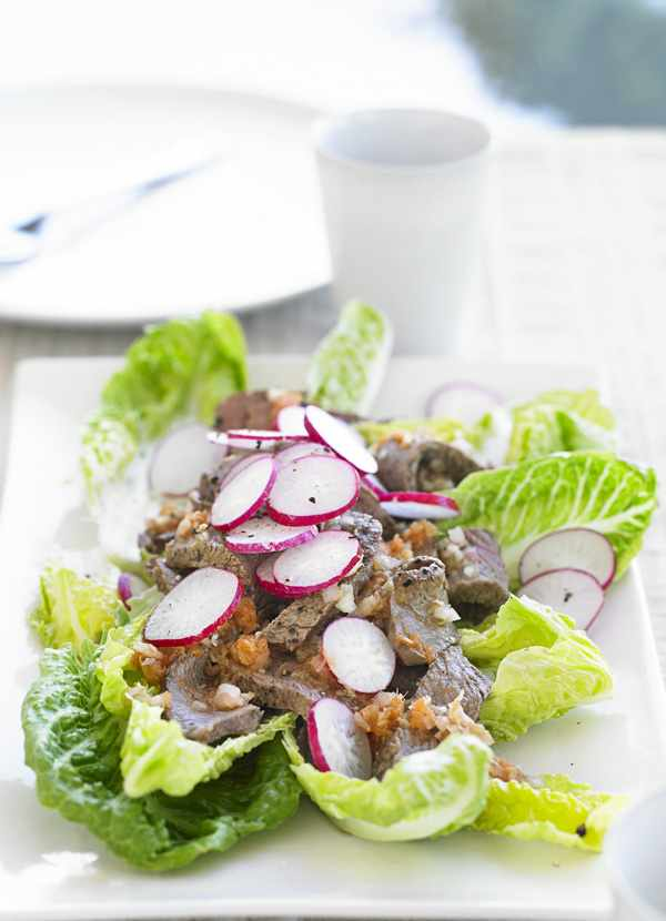 Japanese Beef Salad Recipe with baby gem lettuce and radishes served on a long white plate