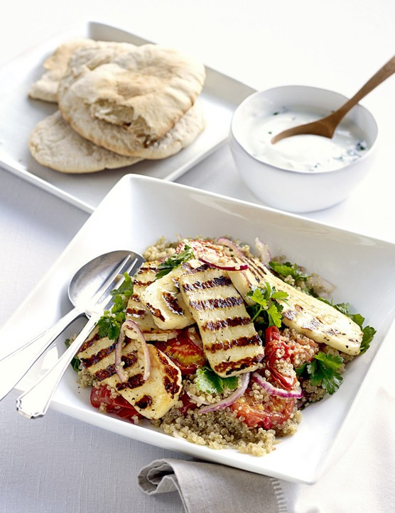 Roasted tomato, halloumi and quinoa salad
