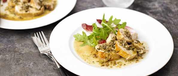 Pollo in agrodolce (chicken in cider vinegar sauce)