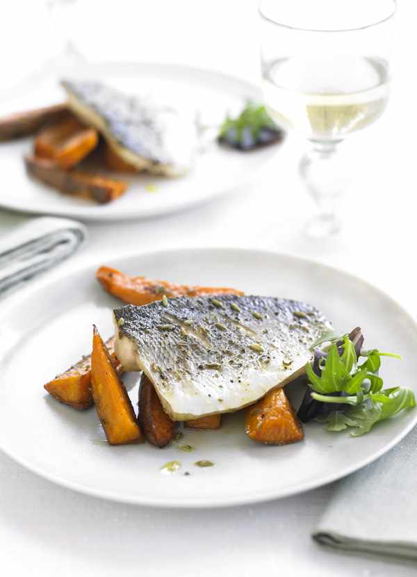 Sea Bass Recipe with Roasted Sweet Potatoes