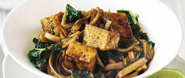 Tofu and winter greens stir-fry