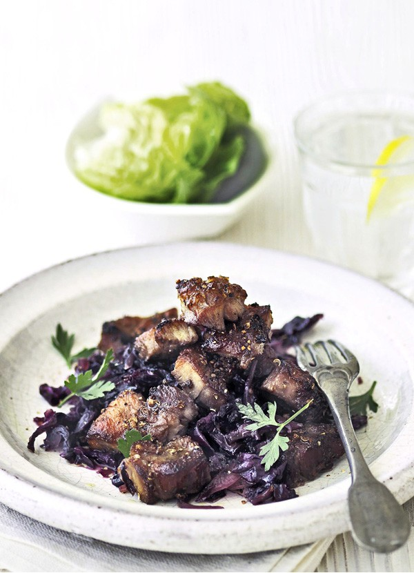 Coriander Crusted Pork Recipe With Sweet and Sour Red Cabbage