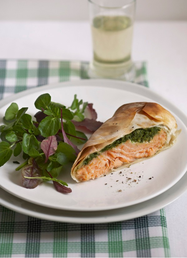 Salmon wrapped in filo pastry