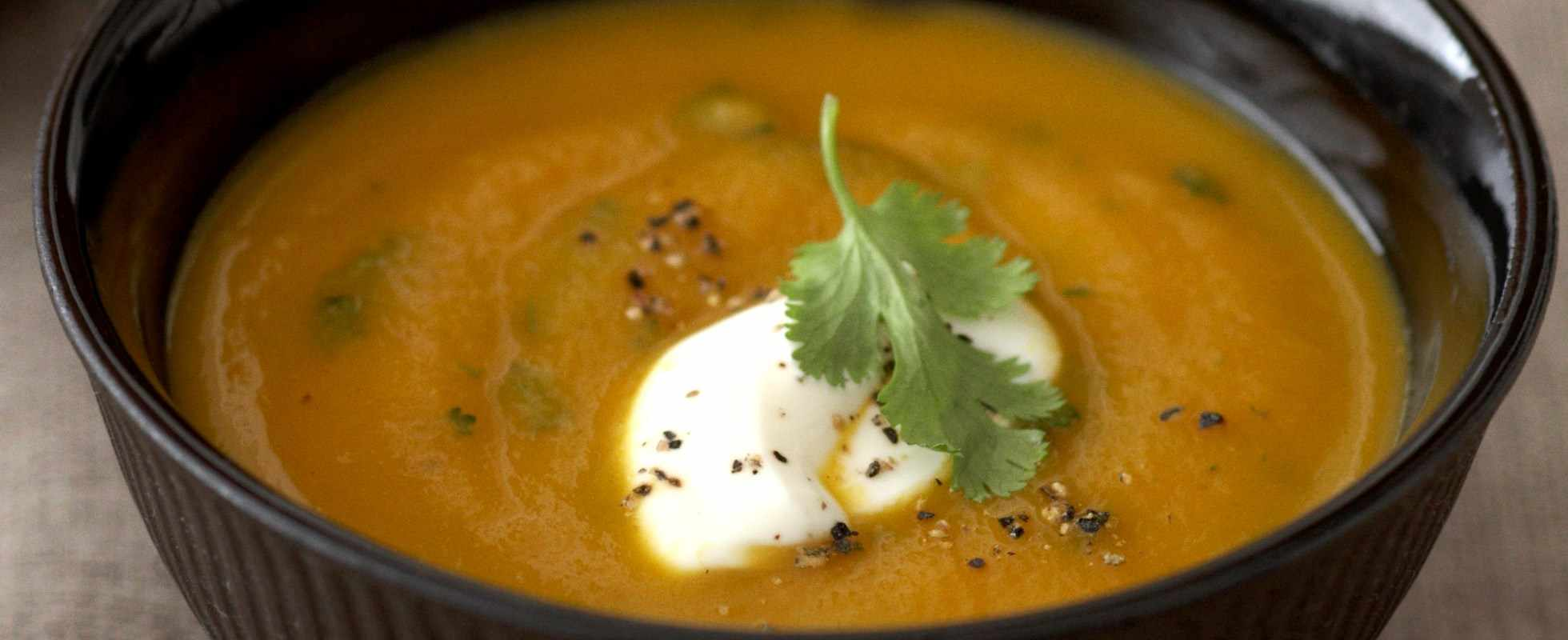 Carrot and cumin soup with fresh coriander
