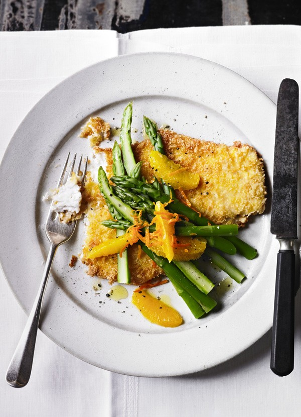 Breaded Haddock Recipe With Asparagus Salad