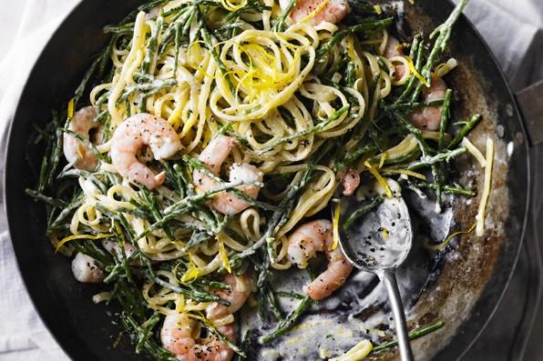 Linguine Pasta Recipe with Samphire and Prawns