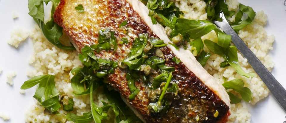 Salmon with lemon caper salsa