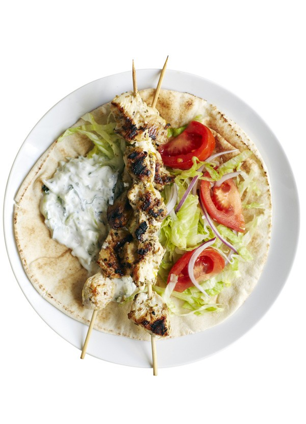 Greek Chicken Flatbreads with Tzatziki Recipe