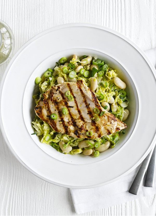 Chargrilled chicken with white beans and cabbage