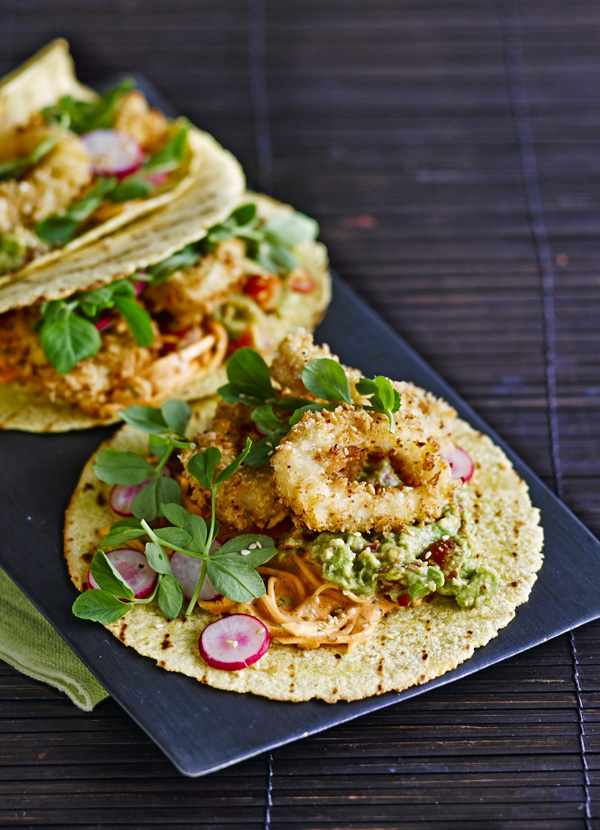 Buttermilk fried squid and kimchi tacos