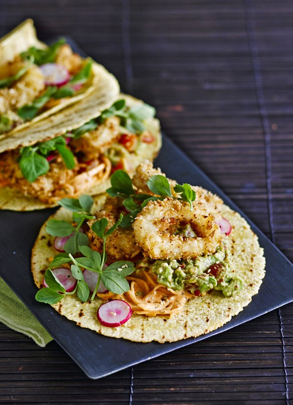Taco Recipe with Fried Squid Rings and Kimchi