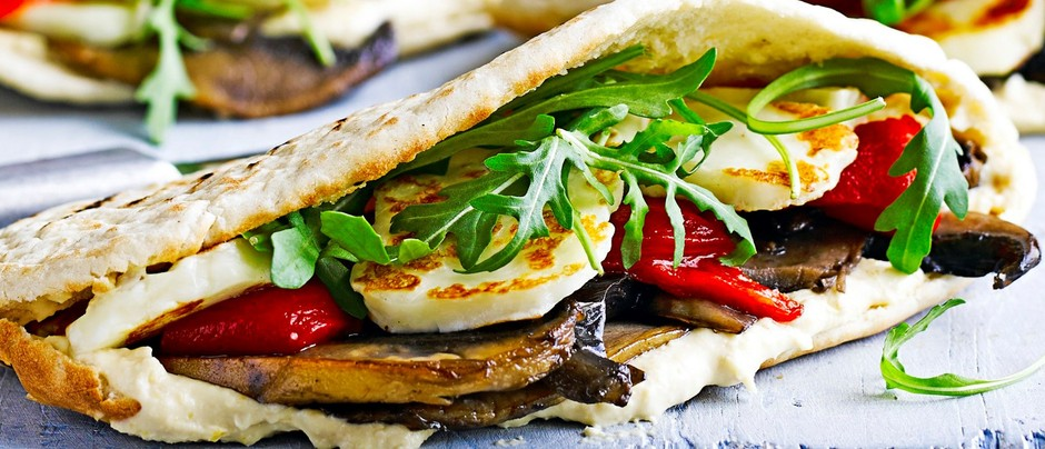 Stuffed Mushroom and Halloumi Pittas | 10 Scrumptious Ways To Serve Halloumi Cheese This Winter Season