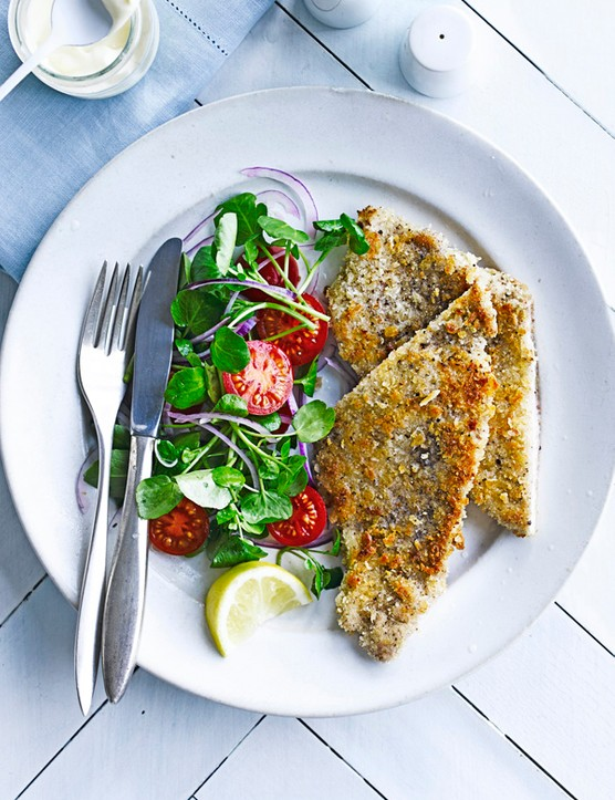 Pork Schnitzel Recipe With Watercress Salad
