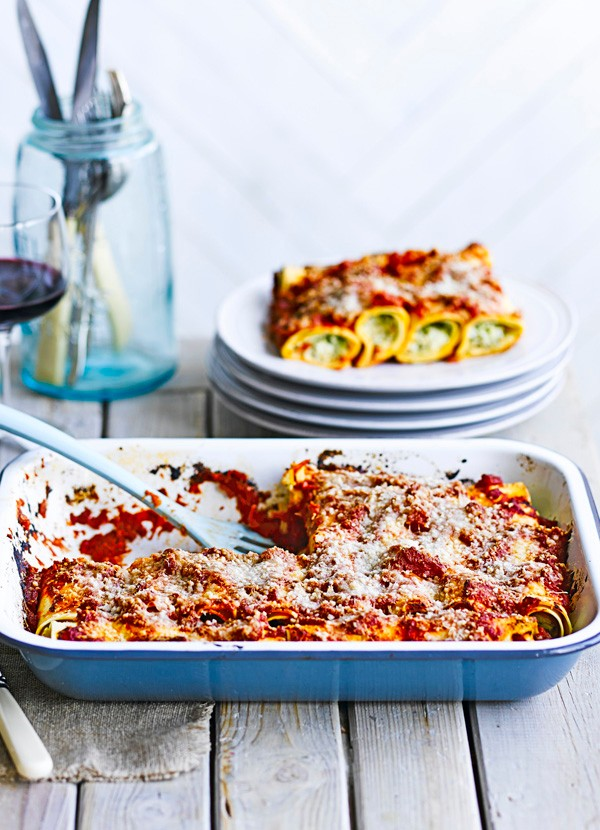 Courgette and ricotta cannelloni