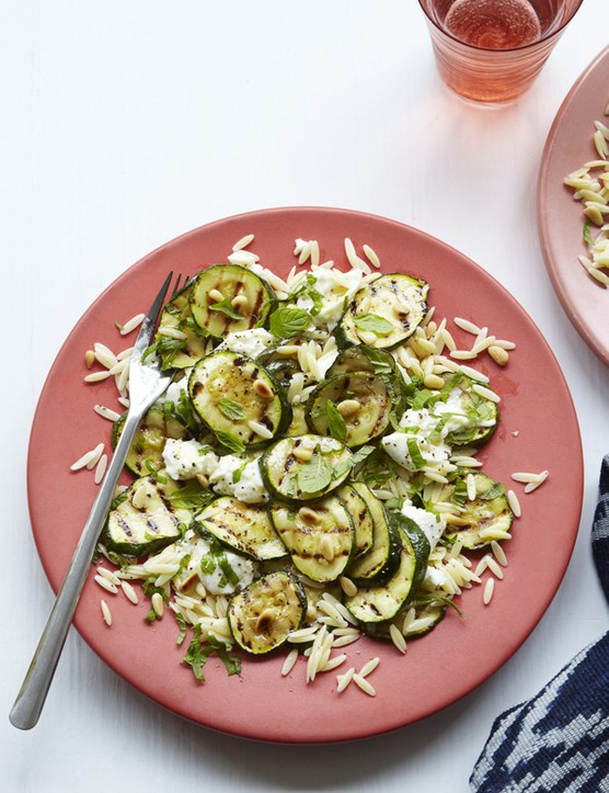 Griddled courgette, pine nut, and mozzarella salad