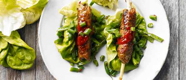 Pork Skewers Recipe with Green Bean Salad