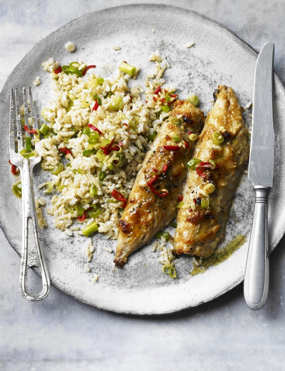 Miso mackerel with chilli brown rice