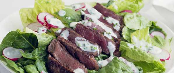 Steak salad with chive buttermilk dressing