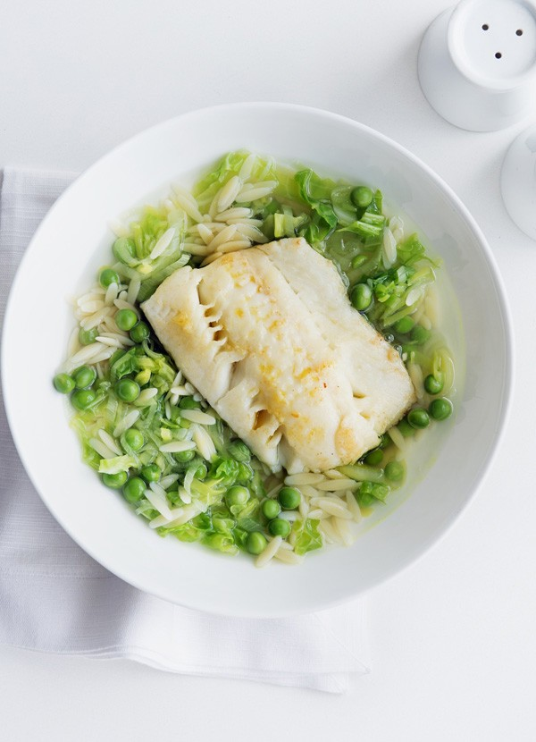 Pan-fried halibut with summer veg broth