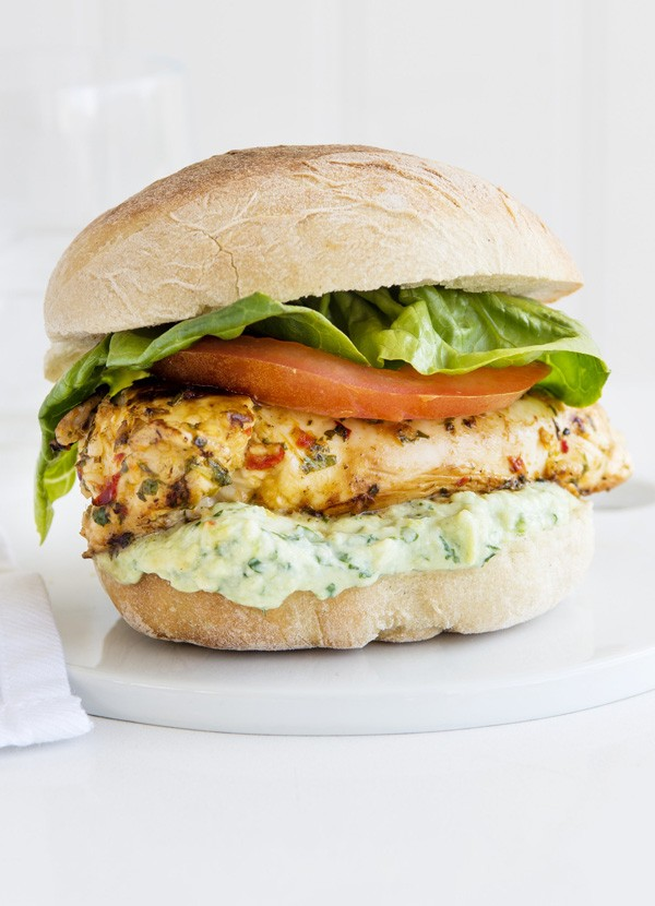 Lime and chilli chicken sandwich with Greek yogurt guacamole