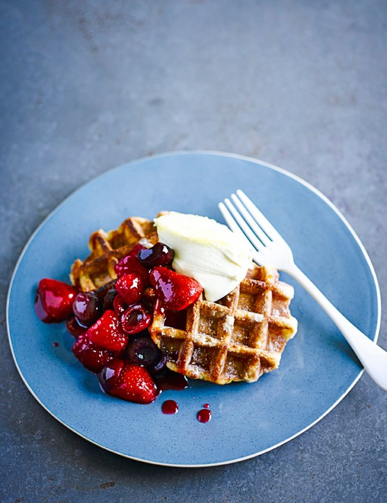 Cream tea waffles with cherry-berry compote