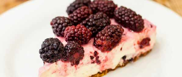 No Bake Blackberry Cheesecake Recipe with Poached Blackberries