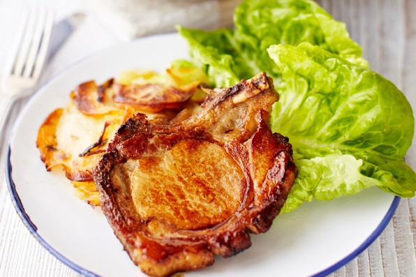 Pork Chops Recipe with Boulangère Potatoes