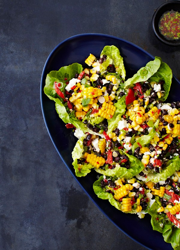 Roasted corn, black bean and feta salad