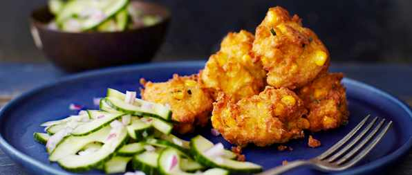 Thai Corn Cakes Recipe With Pickled Cucumbers