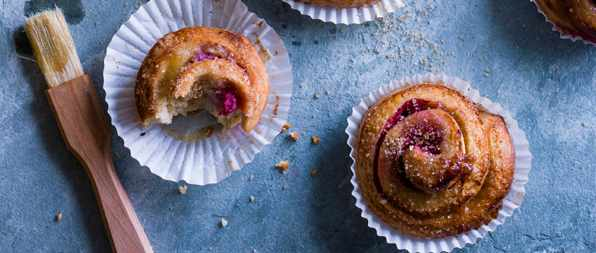 Cardamom and raspberry Swedish buns