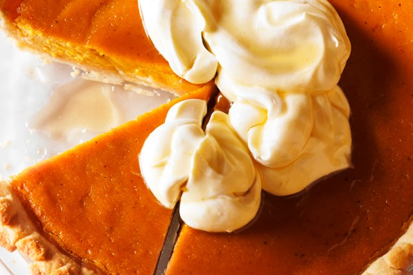Pumpkin pie with maple cream