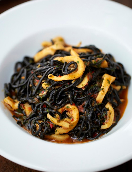 Bibo's Tagliarini Nero with Squid, Chilli, Tomato and Garlic Recipe