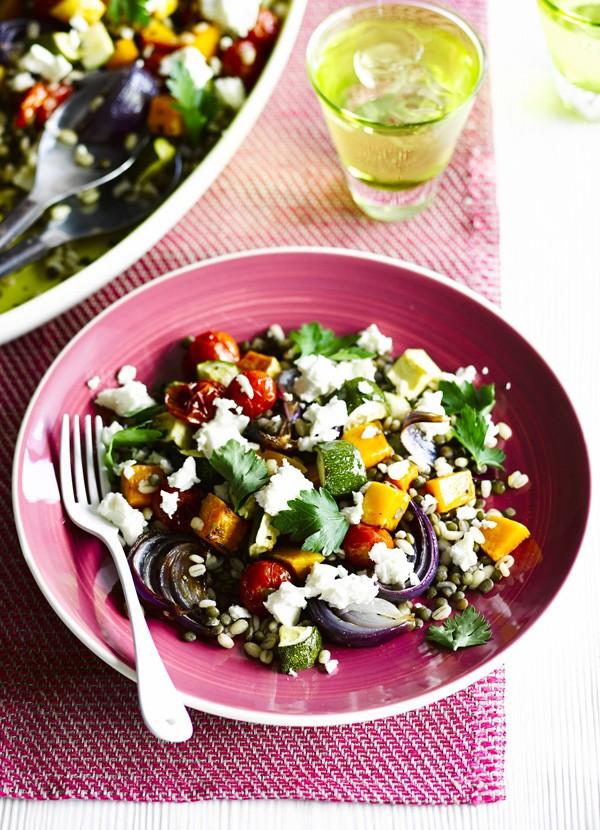 Warm roast veg, lentil and barley salad