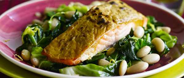 Salmon with sweet mustard glaze