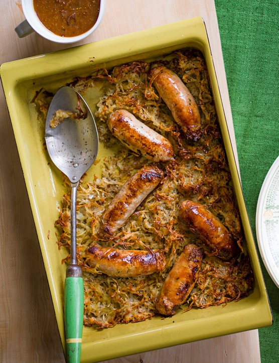 Sausage and Potato Rösti Recipe With Caramelised Onion Gravy