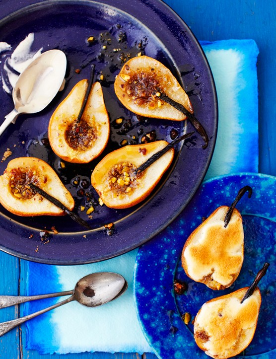 Roast pears with champagne sabayon