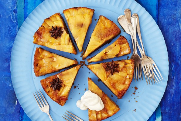 Upside-down apple and star anise cake