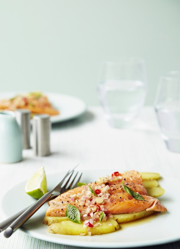 Grilled trout with Asian dressing