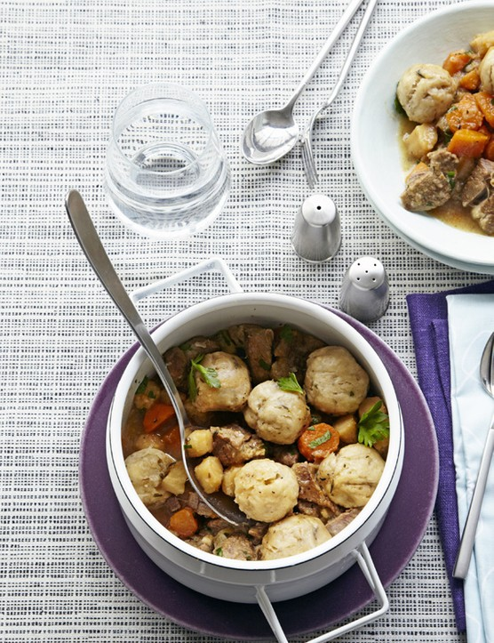 Lamb and roots stew with herb dumplings