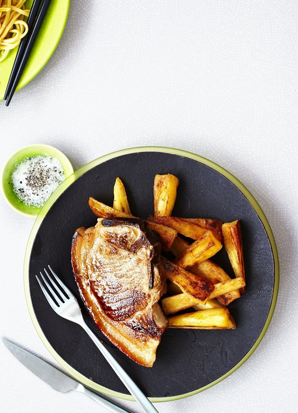 Pork chops with maple parsnips