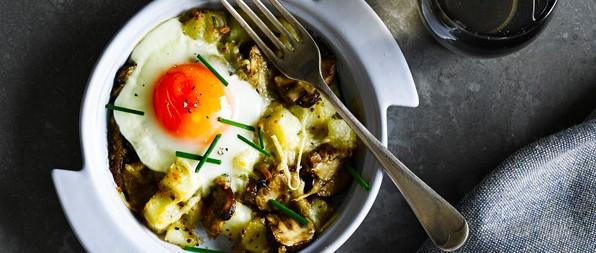 Baked Mushroom Potato And Cheese Hash With Eggs Recipe Olivemagazine